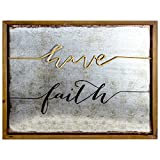 American Art Decor Have Faith Inspirational 3 Dimensional Rustic Wood Metal Farmhouse Style Framed Hanging Wall Art Decor