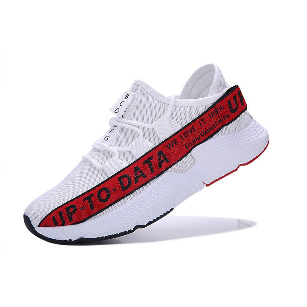 Men's Casual Letter Printing Increased Shoes Wild Fashion Sports Shoes Mesh Breathable Sports Shoes Red