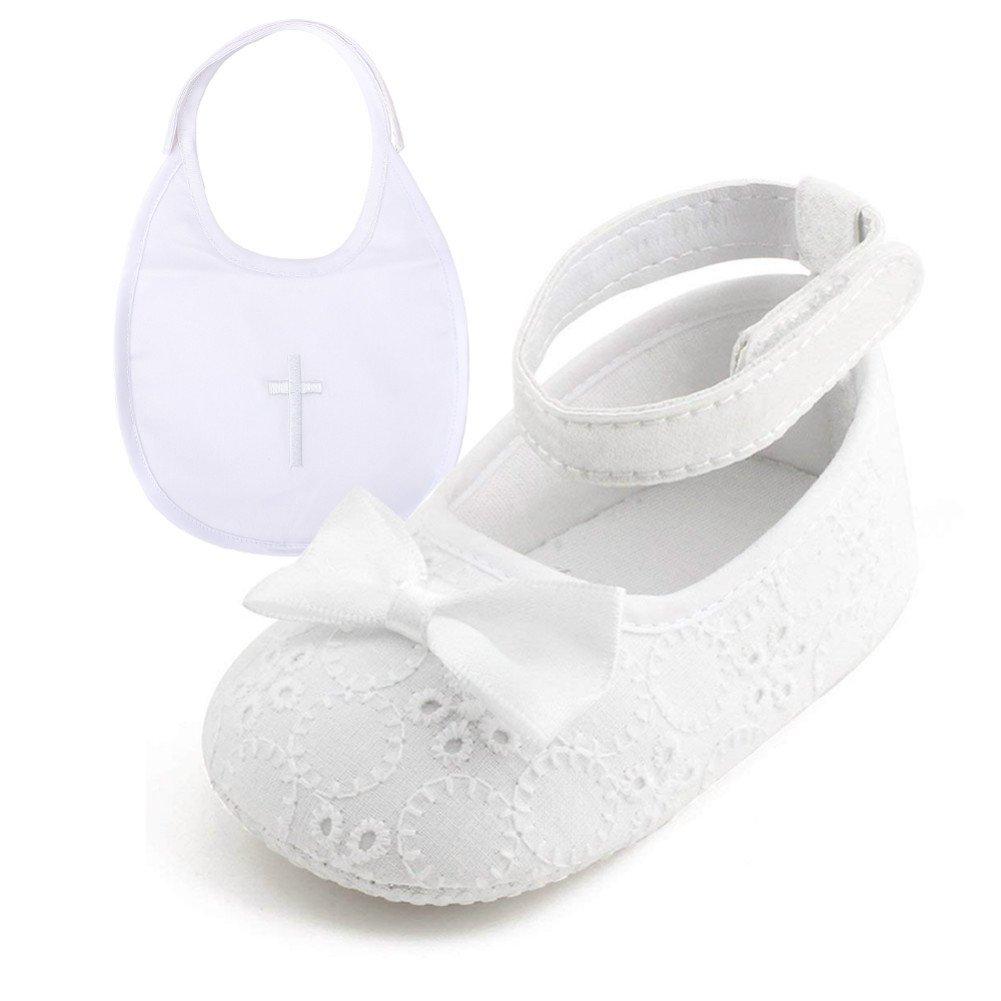 OOSAKU Baby Girls Infant Toddler Christening Baptism Shoes Anti-Slip Sneakers