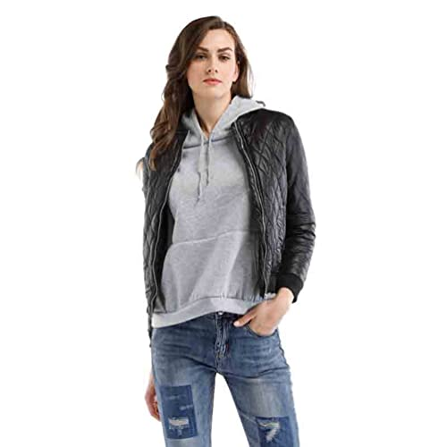 WanYang Mujeres Otoño E Invierno Chaqueta Cálida Casual Moda Jacket Outwear Abrigo Corto De Mangas L...