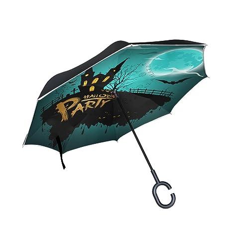 COOSUN Capa fiesta de Halloween Noche doble del paraguas invertido inversa para el coche y el