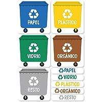 Haberdashery Online 5 Etiquetas Adhesivas para Reciclaje Basura.