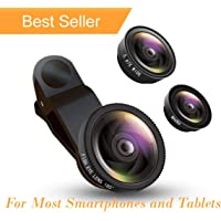 Xcilos 3 in 1 Cell Phone Camera Lens Kit -Fish Eye Lens, 2 in 1 Macro Lens & Wide Angle Lens Compatible for Android/iOS Devices (Multicolour)