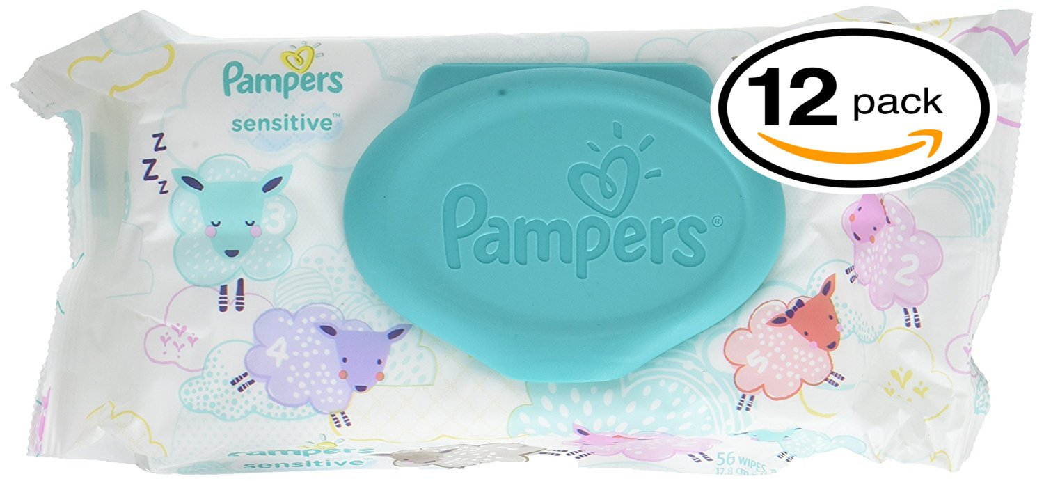 Pampers Sensitive Wipes Travel Pack 56 Count Pack of 3
