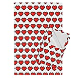 Roostery 8-Bit Pixel Heart Video Game Valentine Libertine Love Tea Towels 8-Bit Heart ~ Libertine and by Peacoquettedesigns Set of 2 Linen Cotton Tea Towels