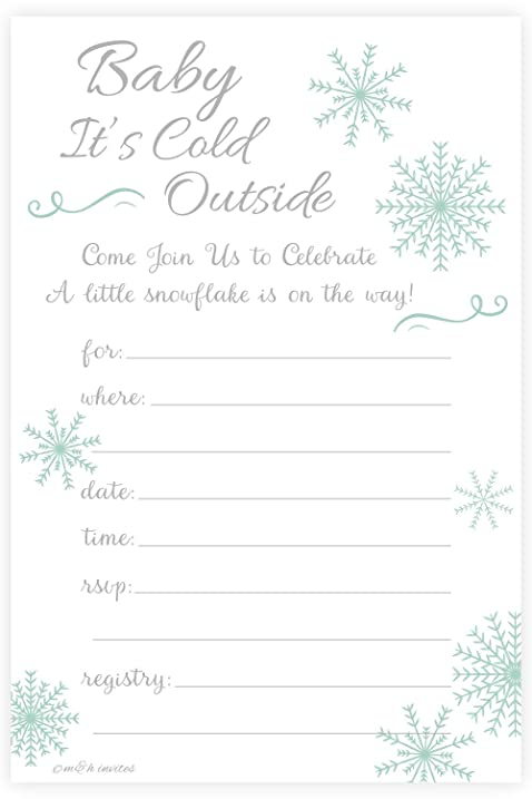 Amazoncom Winter Snowflake Baby Shower Invitations Baby Its