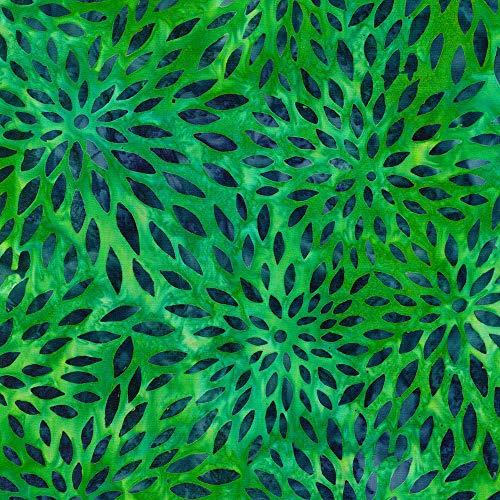 Robert Kaufman Fabrics Artisan Batiks Sunny Day Green Zinnia Petal Explosion