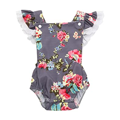 9e81f3d077da4 Amazon.com: Toddler Infant Baby Girl Outfit Boaysuit One Piece Romper Kids  Lace Ruffle Floral Printed Jumpsuit: Shoes