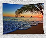 Hawaiian Decor Tapestry by Ambesonne, Pacific Sunrise At Lanikai Beach, Hawaii Colorful Sky Wavy Ocean Surface Scene, Dorm Wall Hanging for Bedroom Living Room, 60 W X 40 L Inches, Orange and Blue