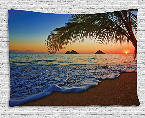 Ambesonne Hawaiian Decor Tapestry by, Pacific Sunrise At Lanikai Beach, Hawaii Colorful Sky Wavy Ocean Surface Scene, Dorm Wall Hanging for Bedroom Living Room, 60 W X 40 L Inches, Orange and Blue (Sports Hanging Fan Wall)