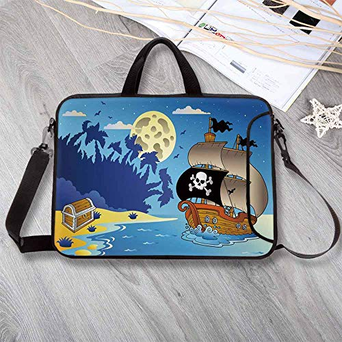 Midnight Accent Chest - Pirate Lightweight Neoprene Laptop Bag,Buccaneer Adventure Antique Ship Deserted Tropical Island Chest Midnight Filibuster Decorative Laptop Bag for Laptop Tablet PC,8.7