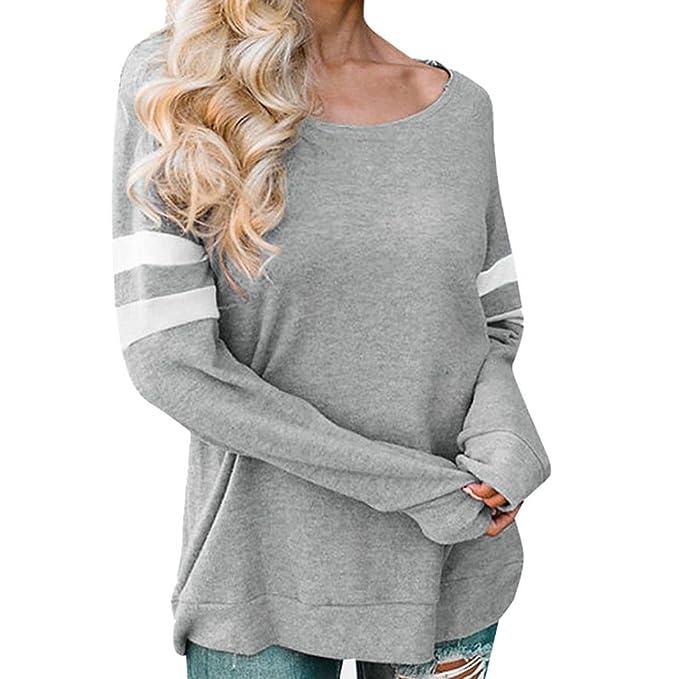 Tefamore Camisetas Mujer, Camisas Mujer Elegantes Pullover Casual O-Cuello Sweatshirt Manga