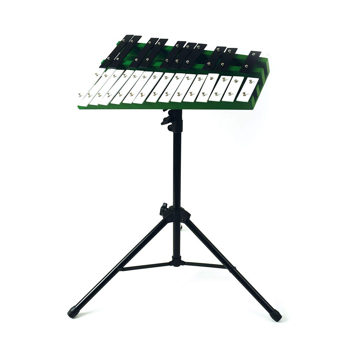 Professional Green Wooden Soprano Glockenspiel Xylophone on Stand with 25 Metal Keys - Includes Xylophone, Stand, Case, Beaters