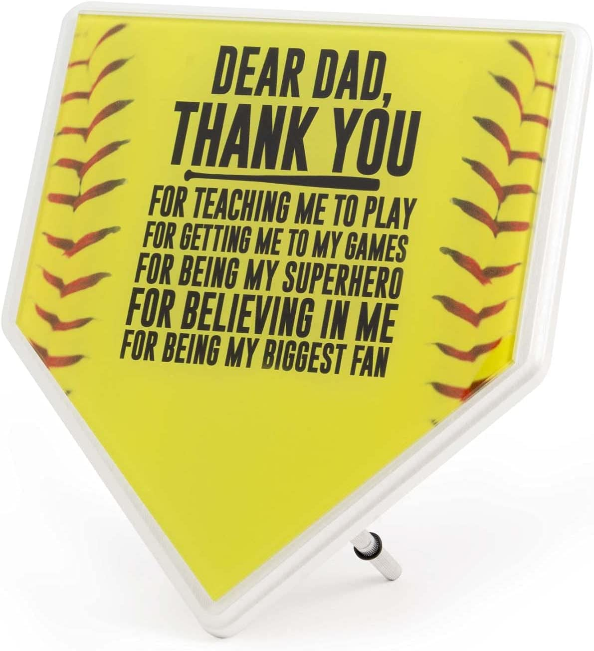 ChalkTalkSPORTS Softball Stitches Home Plate Plaque | Your Message to Dad | Ready to Autograph