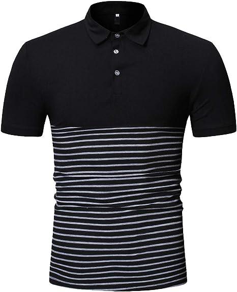 Blusa de Hombre Hombre Slim Fit Manga Corta de Hombre Camisa Top Blusa Camiseta Deportiva de Secado rapido Color sólido Hombre Camisa Negra Rayas Hombre Chaleco Sobrecamisa Jodier (XXL, Black): Amazon.es: Deportes