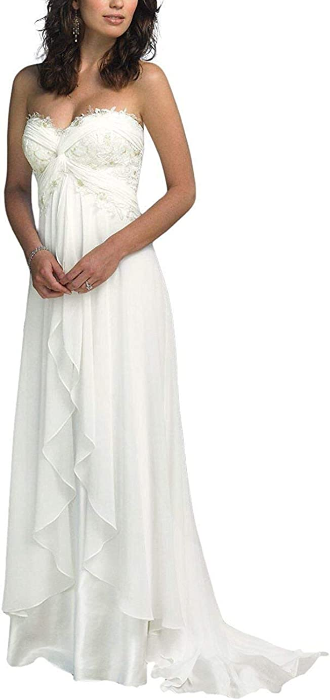 SZWT Nitree Sweetheart Chiffon Long Beach Wedding Dress Bridal Gown Bride Marry Party