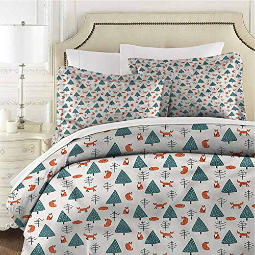 Fox Bedding Set Snowy Winter Day in Forest Quenn (90x90 inches) - 3 Pieces (1 Duvet Cover + 2 Pillow Shams) - Ultra Soft and Breathable Comforter Cover
