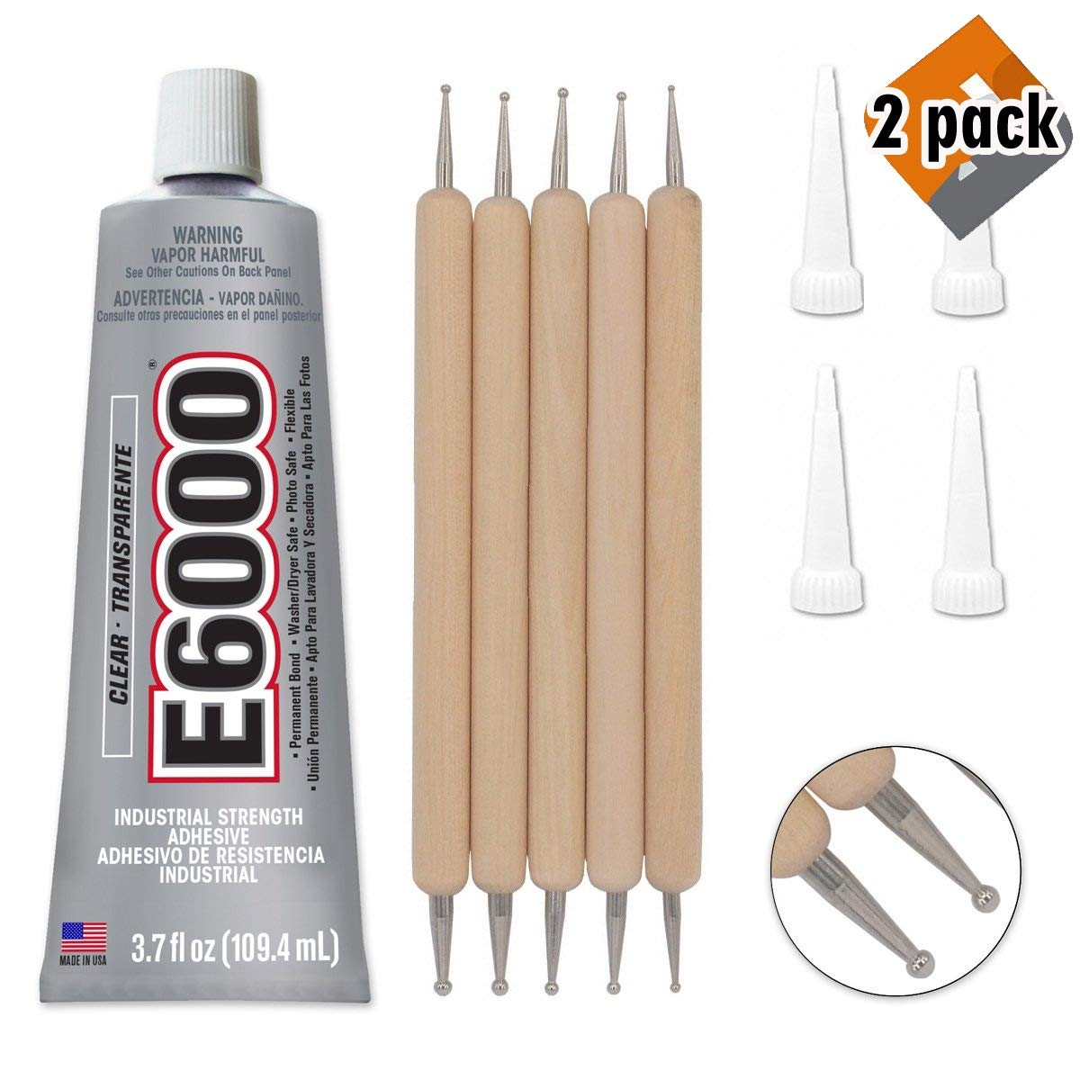 Bundle - E6000 3.7 Ounce (109.4mL) Tube Industrial Strength Adhesive for Crafting, 4 Snip Tip Applicator Tips and Pixiss Art Dotting Stylus Pens 5 pcs Set, 2 Pack by Bundled Brands