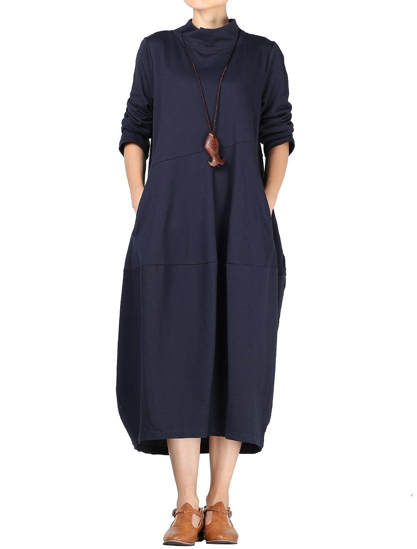bluee Mordenmiss Women's Spring Fall Turtleneck Long Baggy Dress Pockets
