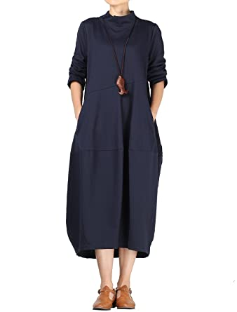dbf058d6c5a34 Vogstyle Femme Robe Manches Longues Col Montant Casuel Ample Pullover  Longue Printemps Automne Gris XL (S, Bleu marin)  Amazon.fr  Vêtements et  accessoires