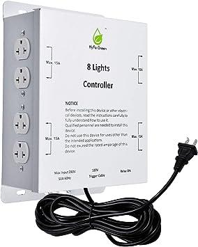 HyFo Green 8-Light Controller with Trigger Cord, Lighting Relay Ballast Grow Light Controller, 120/240 Volt, Light Controller for Indoor Grow Light Hydroponics Grow System, 8 Lighting Relay Controller