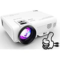 DR. J Professional 4500L Mini Projector Full HD 1080P Supported Portable Video Projector, Compatible With TV Stick, HDMI, VGA, USB, TF, AV, Sound Bar, Video Games [2020 Latest Upgrade]
