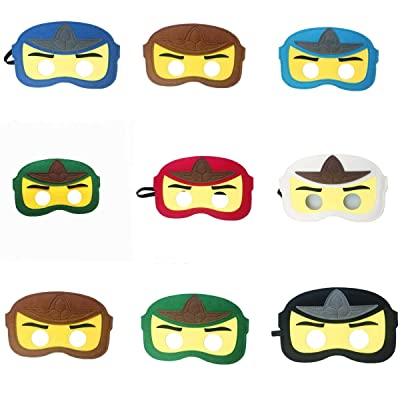 8pc Ninja Ninjago Felt Mask Kids Birthday Gift Cosplay Party Supplies Party Masks for Children: Toys & Games