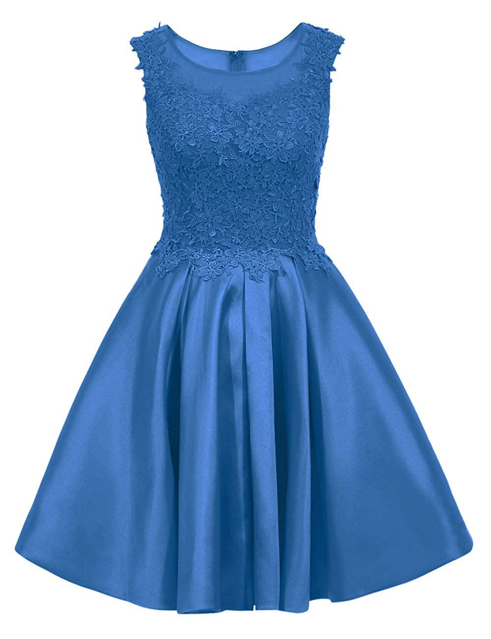 bluee Uther Short Homecoming Dress Cap Sleeves Appliques Vintage Swing Dress Cocktail Dresses