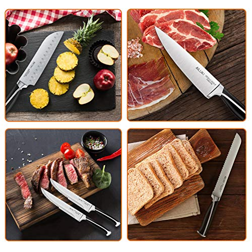 Knife Set, Kitchen Knife Set with Block, AILUKI 19 Pieces Stainless Steel Knife Set, Ergonomic Handle for Chef Knife Set with Gift Box, Ultra Sharp, Best Choice for Cooking by AILUKI (Image #4)