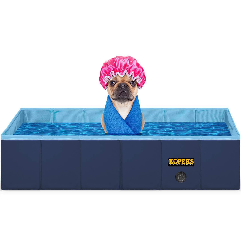 KOPEKS Outdoor Rectangular Swimming Pool Bathing Tub - Portable Foldable - Large - 60'' x 32'' - Blue