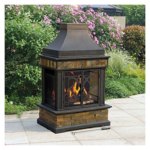 Heirloom Outdoor Patio Wood Burning Slate Fireplace Fire pit Heater NEW Best Selling Item (Woodburning Fireplace Heater compare prices)