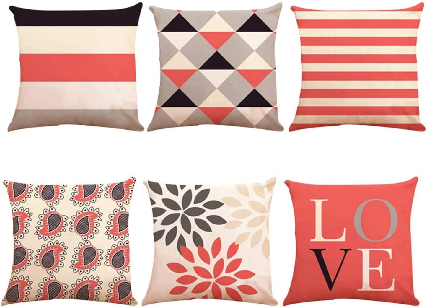 ZUEXT Coral Valentines' Day Love Theme Geometric Throw Pillow Covers 16x16 Inch Set of 6, Cotton Linen Indoor Outdoor Cushion Pillowcase for Car Sofa Home Decor(Coral Navy New Living Seris)