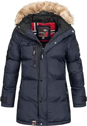 Geographical Norway - Chaqueta de invierno acolchada para mujer, para exterior, transpirable, resistente al viento, impermeable, con capucha desmontable