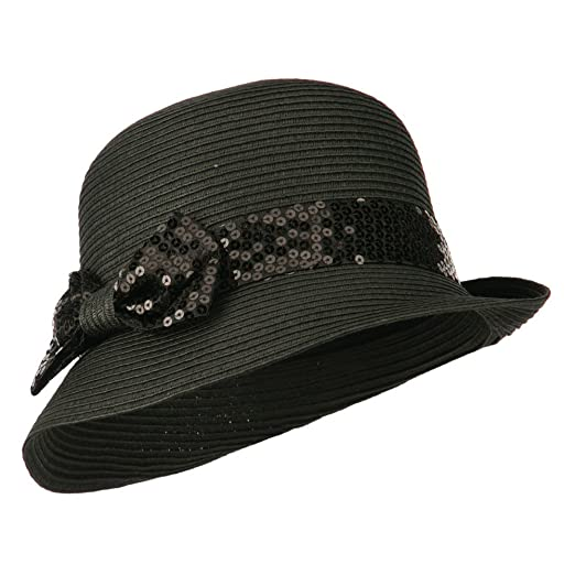 c852fb5e4d2 SS Hat Sequin Bow Women s Cloche Hat - Black OSFM at Amazon Women s ...