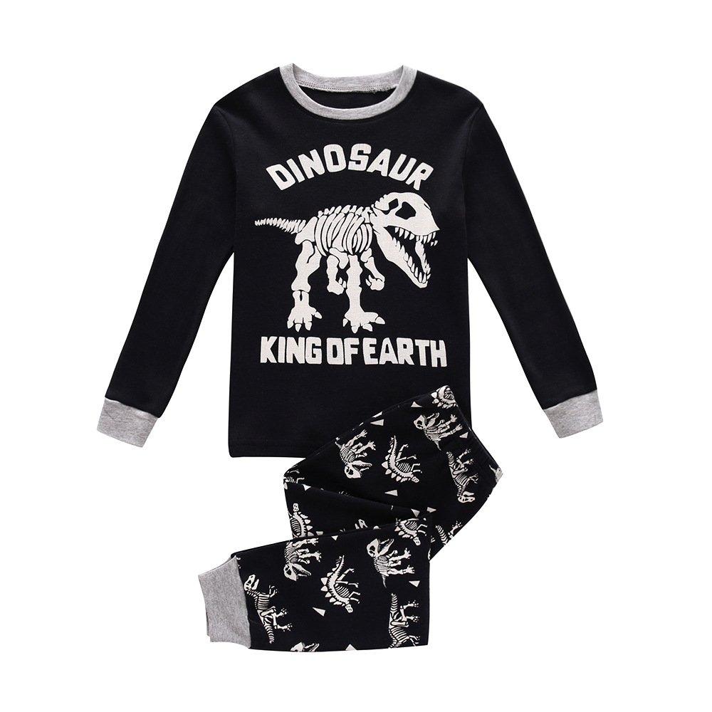 Popshion Toddler Baby Boys Pyjamas Set Dinosaur 100% Cotton Long Sleeve Winter Nightwear Sleepwear PJS Sets 2 Piece Outfit Age 1-7 Years