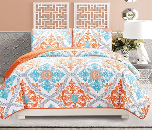 3piece fine printed quilt set reversible bedspread coverlet full queen size bed cover turquoise blue white grey orange