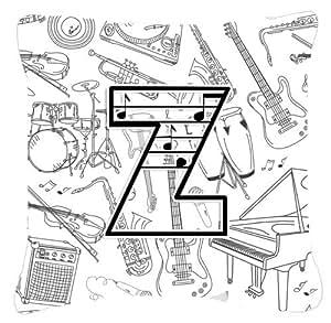 "Caroline's Treasures CJ2007-ZPW1818 Letter Z Musical Note Decorative Pillow, 18"" x 18"", Multicolor"