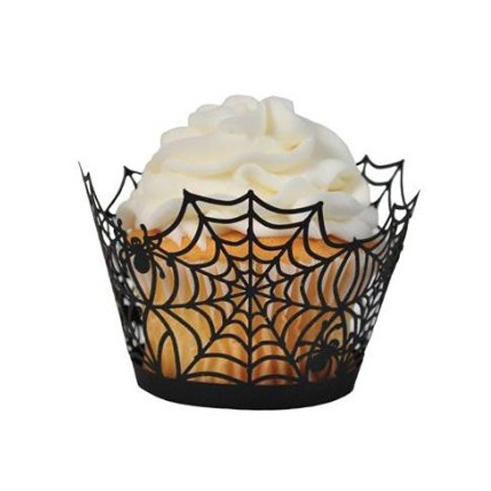 Giveme5 Halloween Party Spiderweb Laser Cut Paper Cupcake Wrappers Wraps Liners Pack of 24 Black