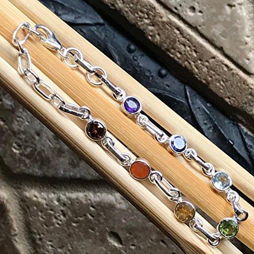 Iolite Topaz Bracelet - Natural Garnet, Carnelian, Citrine, Peridot, Blue Topaz, Iolite, Amethyst 925 Solid Sterling Silver 7-Chakra Bracelet 7