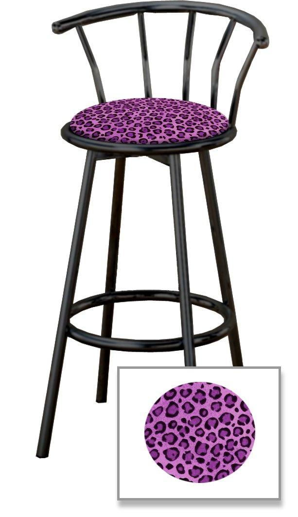 New 29'' Tall Black Metal Finish Swivel Seat Bar Stools with Cheetah or Leopard Print Seat Cushions! (Purple Cheetah Jaguar Animal Print Bench)