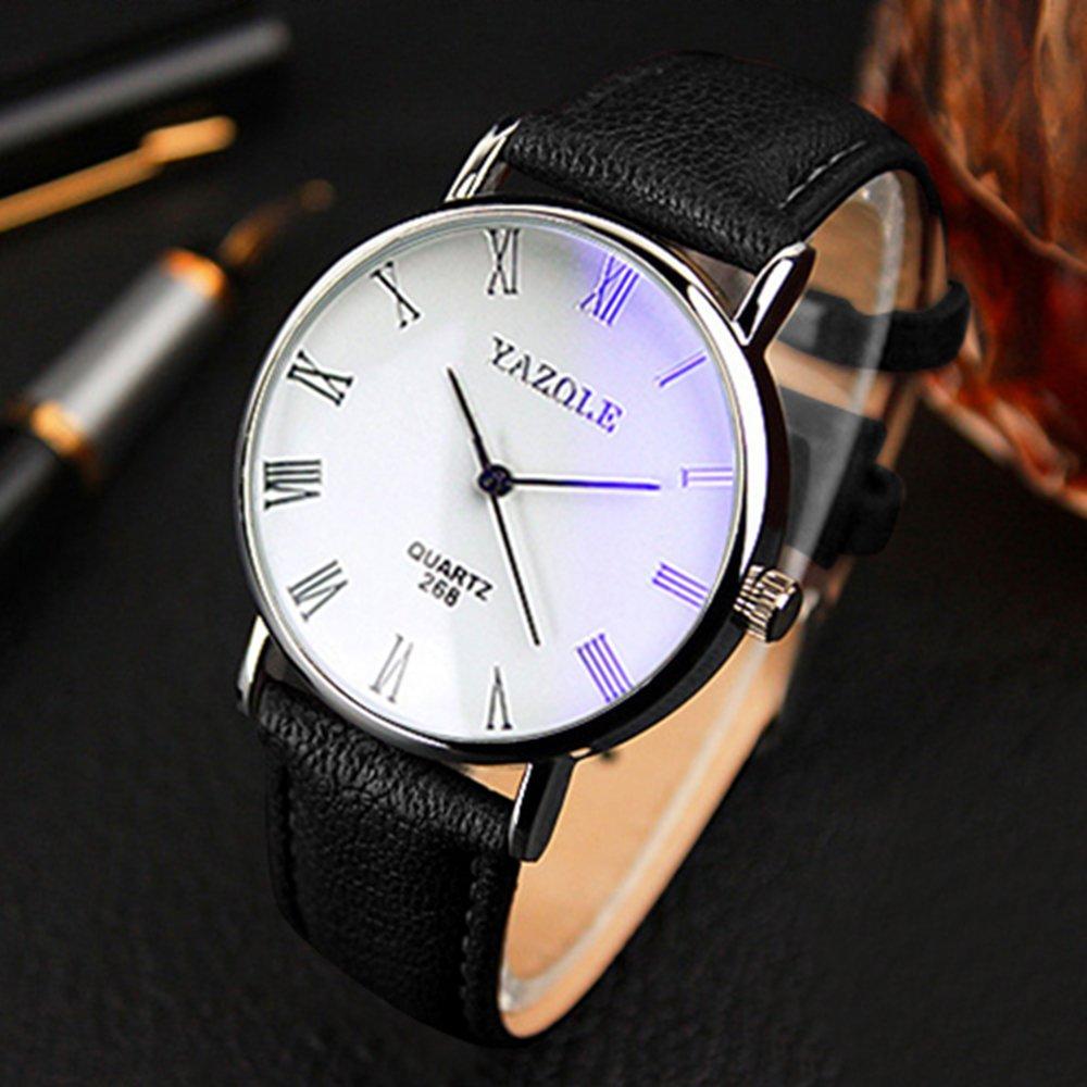 Yazole - Blu-ray números romanos reloj de pulsera analógico de cuarzo banda de, funda de piel sintética, negro banda esfera blanca: Amazon.es: Relojes