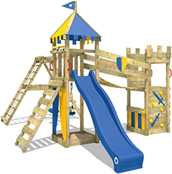WICKEY Parque infantil de madera Smart Legend 150 con columpio y tobogán, Casa de juegos de jardin con arenero y escalera para niños: Amazon.es: Bricolaje y herramientas