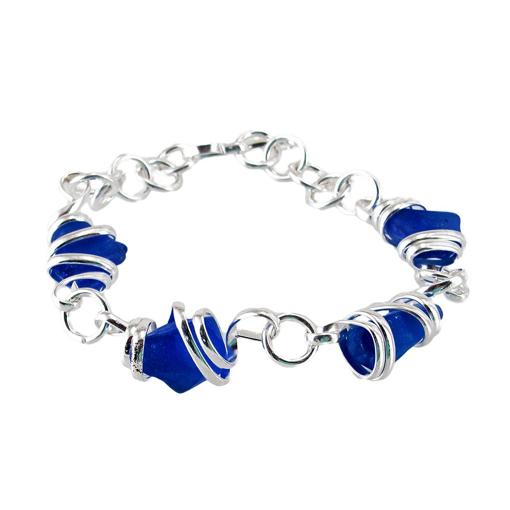 Sea Glass Hand-Crafted Wire Wrapped Chain Link Bracelet Dark Cobalt Blue