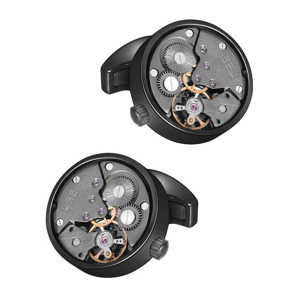 MERIT OCEAN Cufflinks Steampunk Watch Movement Shape Cufflinks for Men Mens Shirt Vintage Gears Watch Cuff Links Business Wedding Gifts with Gift Box (Black in The Middle)