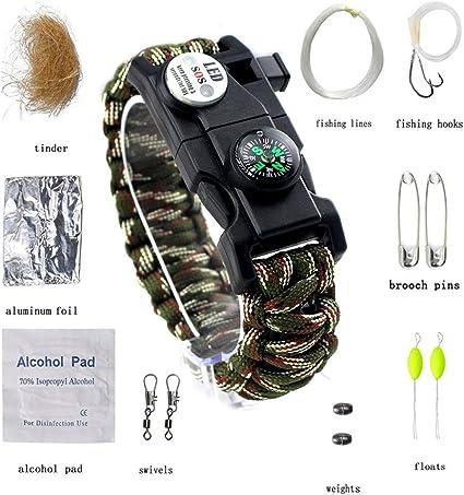 20in 1 Emergency Survival Bracelet Kit SOS Survival Compass LED Light Outdoor