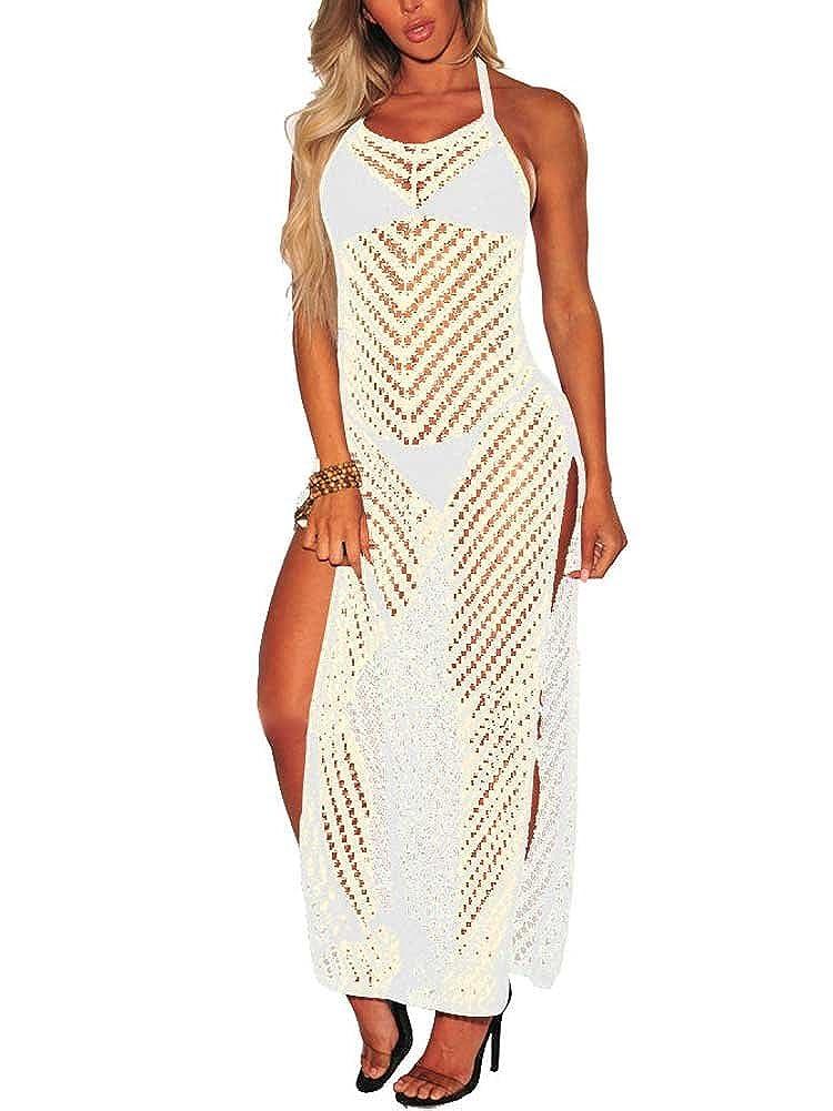 30f5b81ab6 Online Cheap wholesale Nvxiyya Women Halter Neck Crochet Hollow Out Bikini Cover  up High Split Beach Dress Cover-Ups Suppliers