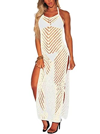 4cf145bbf9c05 NVXIYYA Women Halter Neck Crochet Hollow Out Bikini Cover Up High Split Beach  Dress at Amazon Women s Clothing store
