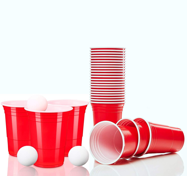WHITE DEER Gobelet Plastique Beer Pong- Mini American Beer Pong Set Jetable et Réutilisable Plastique Dur - Ldéal pour Les Fêtes, Jeux, Célébrations, Noël, Halloween, Etc