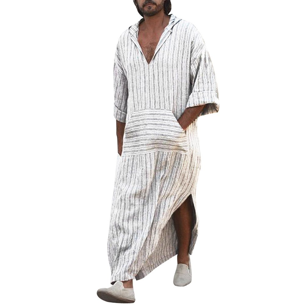 Mens Ethnic Robes,Loose Striped Long Sleeve Hooded Vintage Casual Dress,Kaftan Blouse Thobe(White,M)