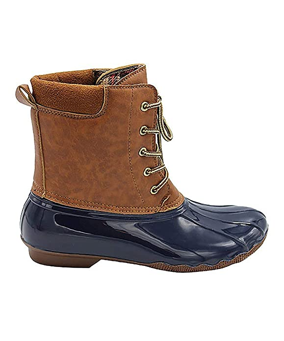 Jessica Carlyle Duck Women's Lace Up Two Tone Combat Style Calf Rain Duck Boots Navy 6